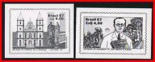 BRAZIL 1987 black prints / schwarzdruck X2 stamps ON glossy PAPER
