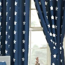 Azul Marino/Blanco Stars Cortinas Forradas Dormitorio Infantil 168cm x 183cm