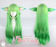 LOL Lulu Star Guardian League of Legends Long Green hair Cosplay Wig With Ears