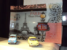2 x 1:43 60's FRENCH CARS RENAULT 4 & 8 + GLASS PARIS TRAY BACKDROP WITH LIGHT