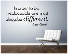 Coco Chanel Quote Irreplaceable Vinyl Wall Decal/Words/Sticker home cute girl
