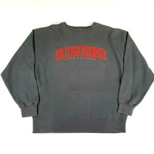 VTG Rare Budweiser Sweatshirt The King Of Beers XL Embroidered Anheuser-Busch