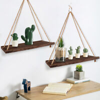 Wall Hanging Shelf Wood Rope Swing Shelves Room Storage Holder Floating Rack