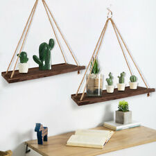 Wall Hanging Shelf Wood Rope Swing Shelves Room Storage Holder Floating Rack