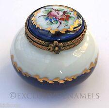 Limoges Dubarry Vintage Peint Main Cobalt Blue Bulged Base China Trinket Box
