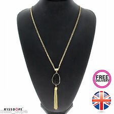 NEW BLACK STONE GOLD TASSEL LONG CHAIN STATEMENT NECKLACE PENDANT WOMENS BEADS