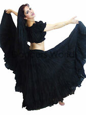 Gypsy Cotton Skirt 4 Tier Black 25 Yard Tribal Belly Dance with Choli Top 2pc