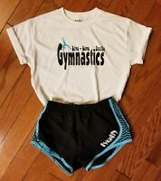 Gymnast running shorts with white t-shirt Black and teal GYMNASTICS CLOTHING