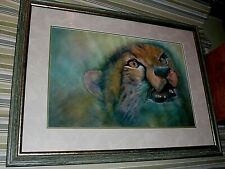 Original framed watercolor painting by Kazuko Inouye of a beautiful wild Cheetah