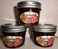 Fresh STRAWBERRY JELLY 1/4 Pint (4 oz.) Organic, No Chemicals, FREE SHIPPING