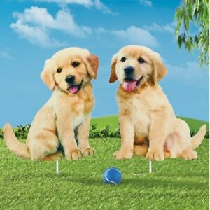 Golden Retriever Puppies Metal Yard Stakes - Set of 2