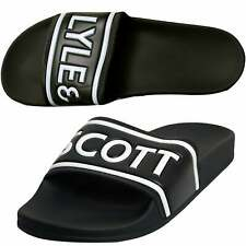 Lyle & Scott Script Logo Pool Slides, Black/white