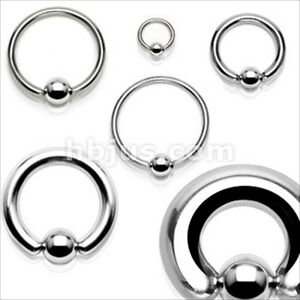 1 PAIR ( 2 PIECES) 316L Surgical Steel Captive Bead Ring Ear Septum PA Gauges