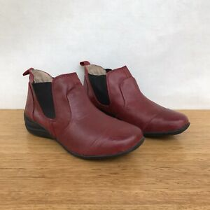 ☘️ Womens Colorado Beauty Leather Chelsea Ankle Boots Slip On Shoes Red Size 9