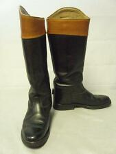 ***LIVERY BOOTS, LEATHER, SIZE 5, BLACK WITH MAHOGANY TOPS***