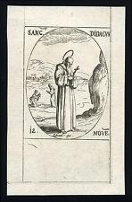 santino incisione 1600 S.DIEGO D'ALCALA'  j.callot