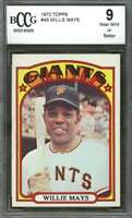 Willie Mays Card 1972 Topps #49 San Francisco Giants BGS BCCG 9