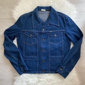 Mustang Vintage Denim Jacket Size Medium Womens Indigo Dark Blue Chore Western