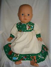"""Verde Navidad Cupcake Corpiño/Volante Vestido. ajuste muñeca bebé nacido/Annabel 16/18"""""""