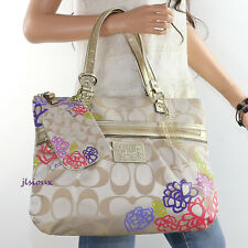 NEW Coach Poppy Daisy Signature Applique Glam Tote Bag F20794 Wristlet F48318