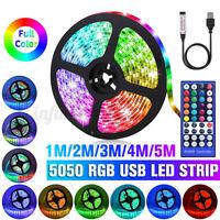1-5M 5V 5050 RGB USB LED Strip Light Colour Changing +44 Key IR Remote Control