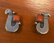 MEXICAN STERLING PARTRIDGE WITH CORAL CLIP EARRINGS