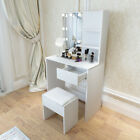 Modern Dressing Table with LED Lights Mirror Vanity Makeup Desk and Stool Set