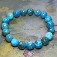 8mm Natural Blue Lace Agate Beads Handmade Bracelet 7.5inch Healing Prayer