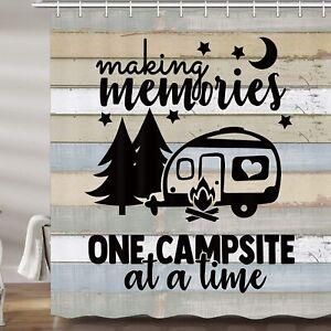 Happy Camper RV Shower Curtains, Farmhouse Camping Bath Curtain for Travel RV