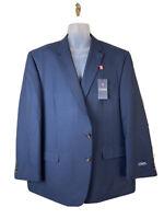 Chaps Mens Two Button Blazer Sport Coat Sz 50R Blue Check Polyester Rayon Blend