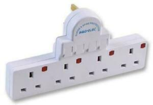 Multi Socket Plug in Extension 4 Way Gang Switched Surge Spike Protect Adaptor