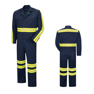 Red Kap Work Coverall Hi Vis Enhanced Visibility Twill Action Back Navy CT10EN