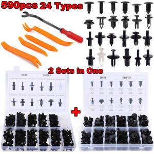 590pcs Car Bumper Door Push Pin Fastener Rivet Trim Panel Clips+5 Removal Tools