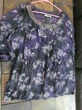 Women's Blouse Plus Size 22/24W Purple Gray Glitter Outlines Cato Brand