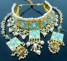 FIROZI MEENA KUNDAN GOLD TONE CHOKER NECKLACE SET BOLLYWOOD BRIDAL WEAR JEWELRY