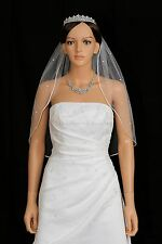 1T White Bridal Elbow Length Scattered Rhinestones Rattail Edge Wedding Veil