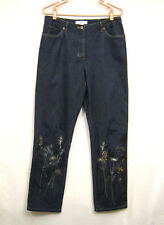 Real Clothes Straight Leg Jeans Women Size 10 Blue Denim Floral Embroidered