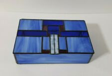 Stained Glass Jewelry Box Art Deco Design Blue Slag Glass Felted Bottom