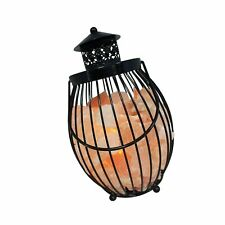 Himalayan Glow 1342 Lantern Style Metal Basket Night Lamp with Salt Chunks, 7...