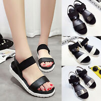 WOMENS STRAPPY SANDALS SLINGBACKS LADIES SUMMER WEDGE PEEPTOE PLATFORM SHOES