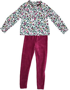 Janie And Jack Girls White Floral Magenta Outfit - Size 8