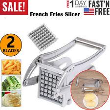 NEW 2 Blades French Fries Slicer Potato Chipper Chopper Cutter Chip Maker Steel