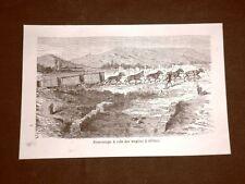 Incisione del 1865 Lavori di scavo in Pompei, vagoni trainati da asini