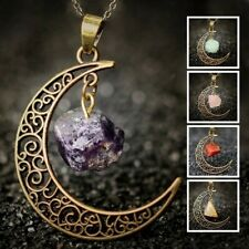 Rose Quartz Moon Gemstone Pendant Natural Crystal Healing Stone Necklace Gift
