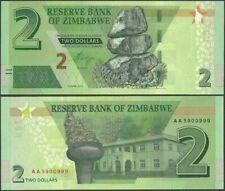 ZIMBABWE 2 DOLLARS 2019 P NEW REVISE HYBRID UNC