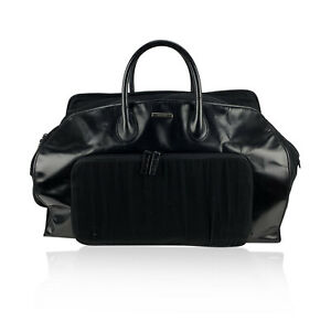 Authentic Gucci Black Canvas Leather Weekender Travel Duffle Duffel Bag