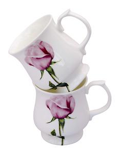 "Pair of Attractive Stacking ""Rose"" Bone China  Mugs"