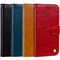Samsung Galaxy S9 S9+ Magnetic Flip Retro PU Leather Wallet Case Stand Cover