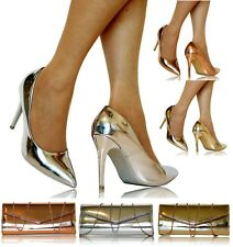 Mujer Fiesta Novia Boda Metálico Charol Stiletto Zapatos de Salón Tacón Alto