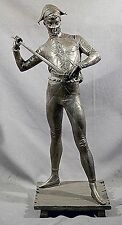 """32""""H ANTIQUE BRONZE OF MAN DRESSED AS A COURT JESTER 32"""" H  SIGNED PAUL DUBOIS"""
